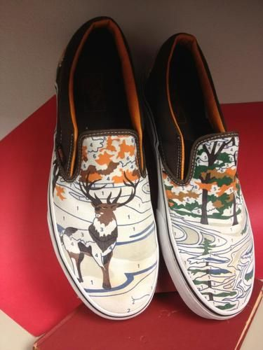 4fa4ec4403 RARE Limited Vans Slip on Paint by Number Deer Stag Orange and Brown ...