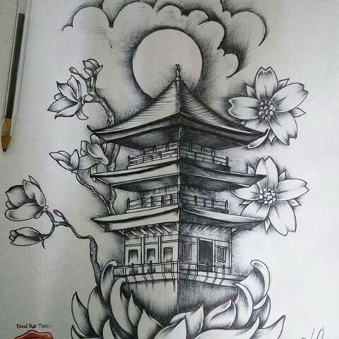 templo chino dibujo pinterest tattoo oriental and tatoo. Black Bedroom Furniture Sets. Home Design Ideas