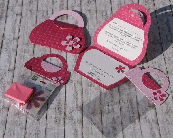 einladung handtasche teaser einladung kindergeburtstag pinterest geburt einladung. Black Bedroom Furniture Sets. Home Design Ideas