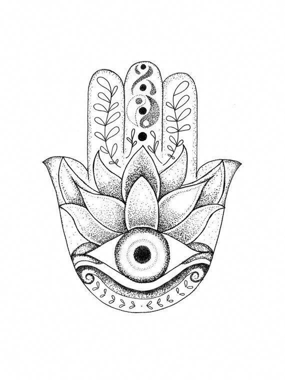 Hamsa Evil Eye Drawing Stipple Dots Meahgounoahoramismo