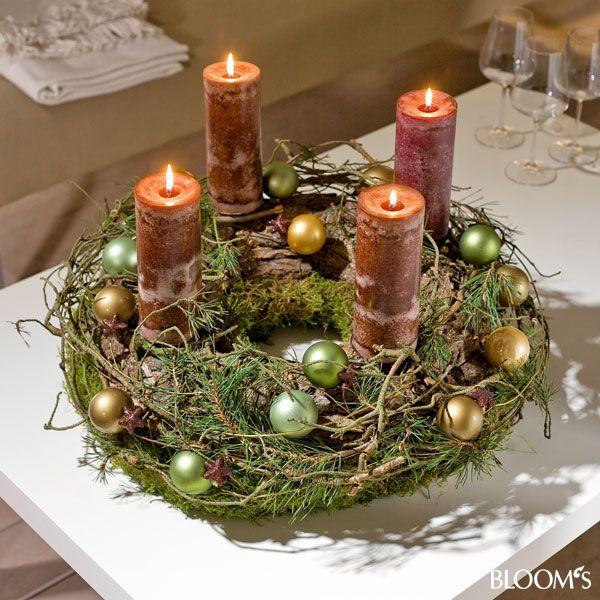 Adventskranz Deko advent im naturlook dekorieren mit zapfen und zweigen x
