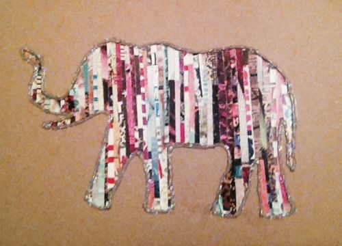 Elephant silhouette made out of strips of magazines ❤️ so easy, a little time consuming but I want to to a black and white one next!