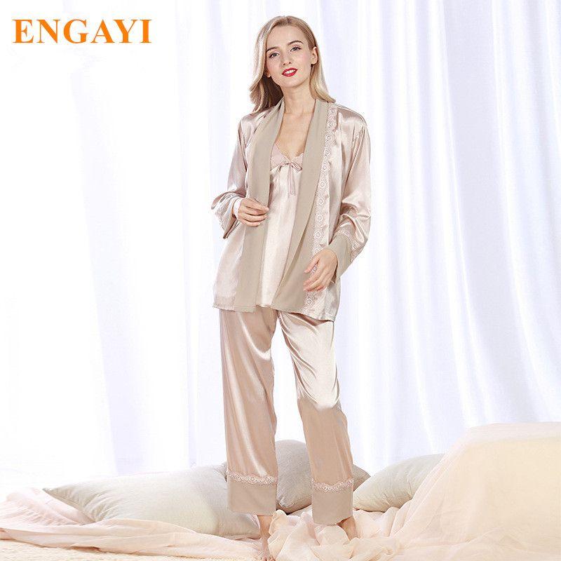 2017 New Women Silk Satin Pajamas Pyjama Sets Pijamas Nightgown ...