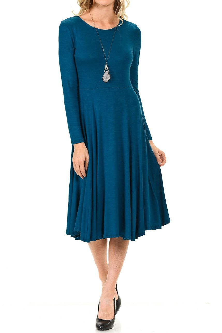 6b4e5faa382 Long Sleeve Fit and Flare Midi Dress in 2019 | Outfit ideas ...