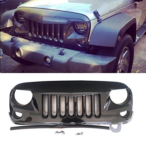 Vioji Jk Jeep Wrangler Glossy Black Eagle Eyes Style Front Grille With Mesh Inserts Jeep Wrangler Jk Jeep Jeep Jk