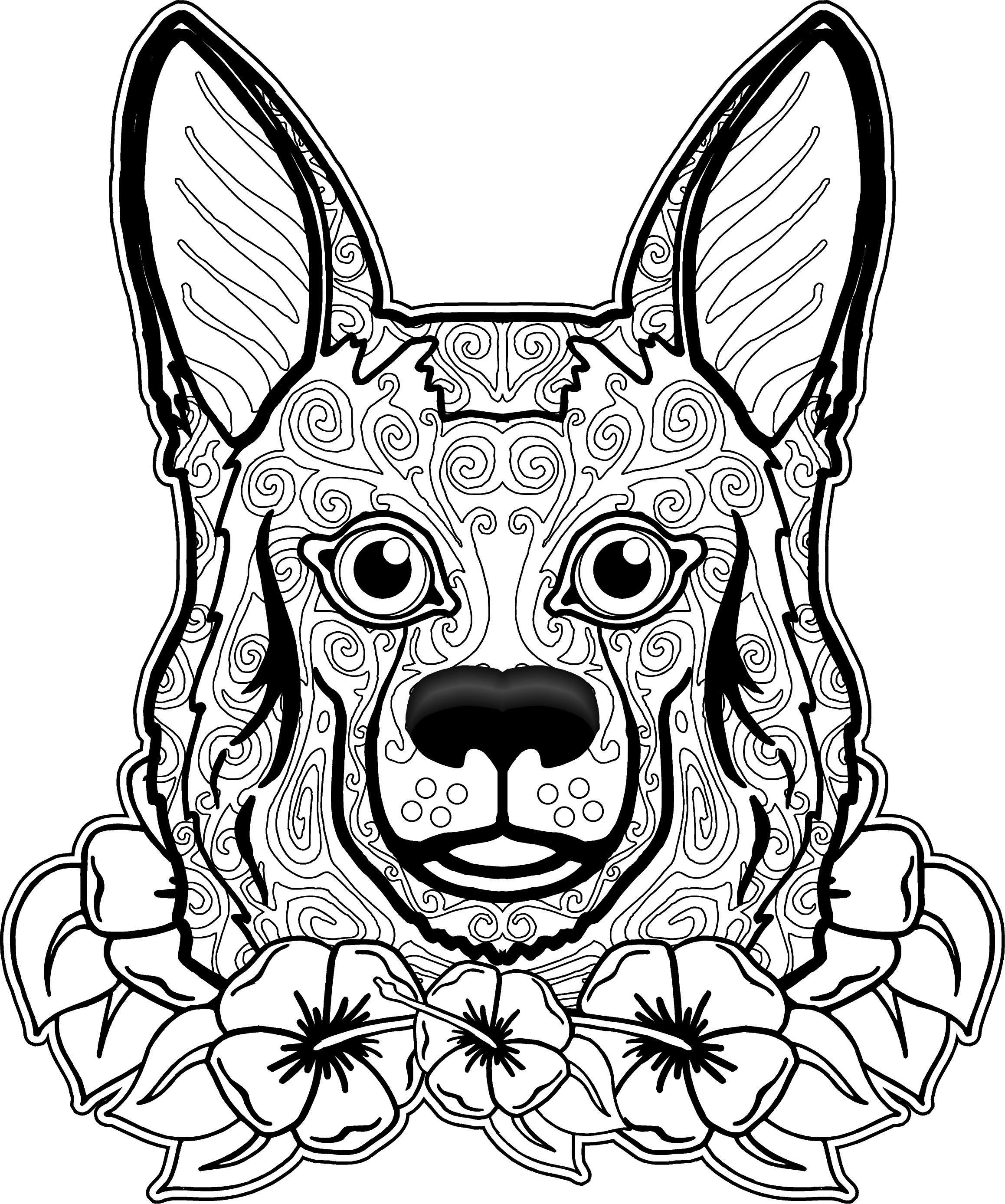 free printable dog coloring pages for adults | Pin by Robbie Thomas on coloring pages | Dog coloring page ...