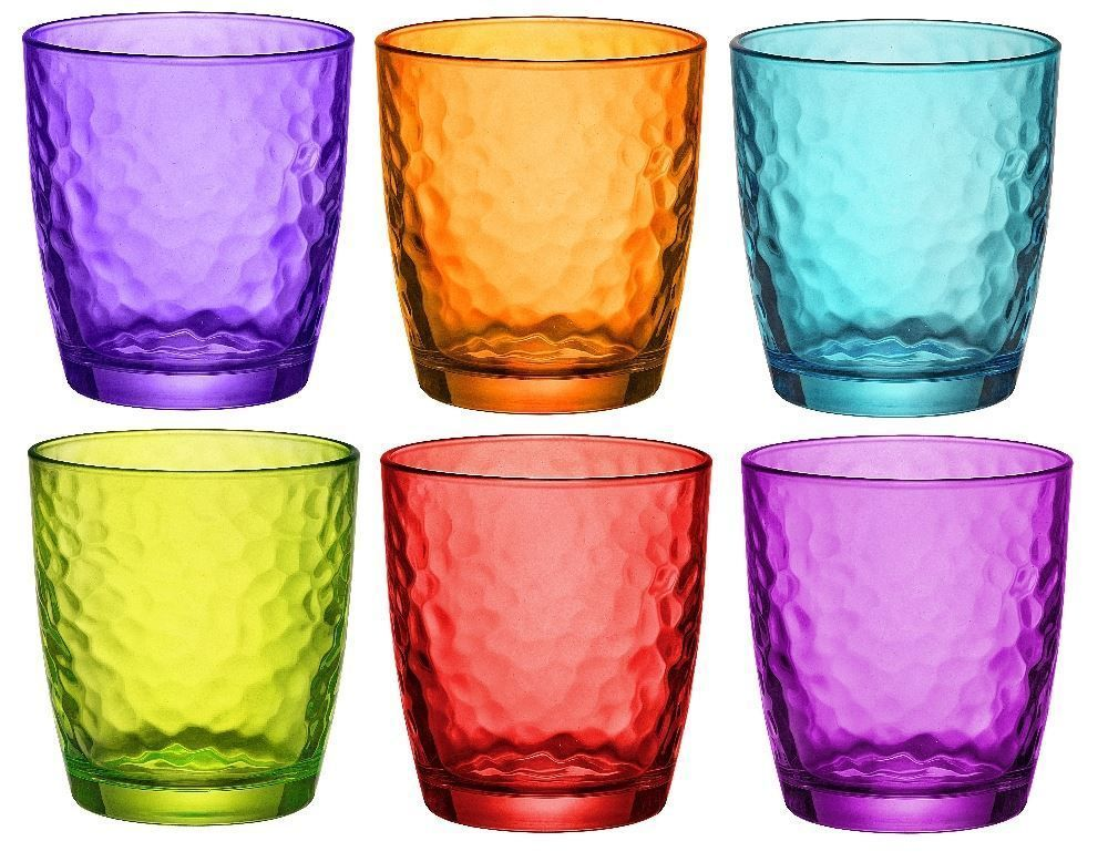 Bormioli Rocco Palatina Coloured Tumbler Glasses 320ml Multi Coloured X6 Home Furniture D Colored Drinking Glasses Colored Wine Glasses Bormioli Rocco