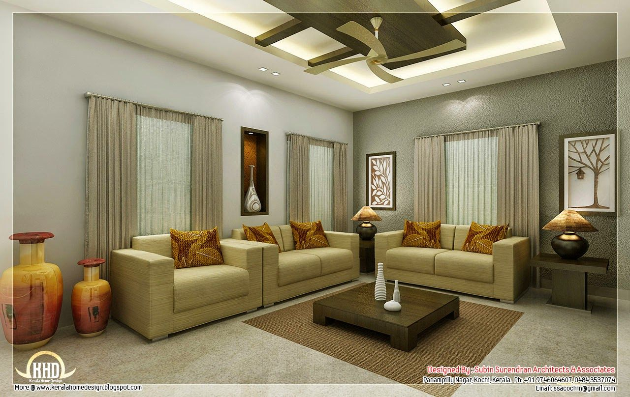 Interior design for living room in kerala cool interior for Living room drawing design