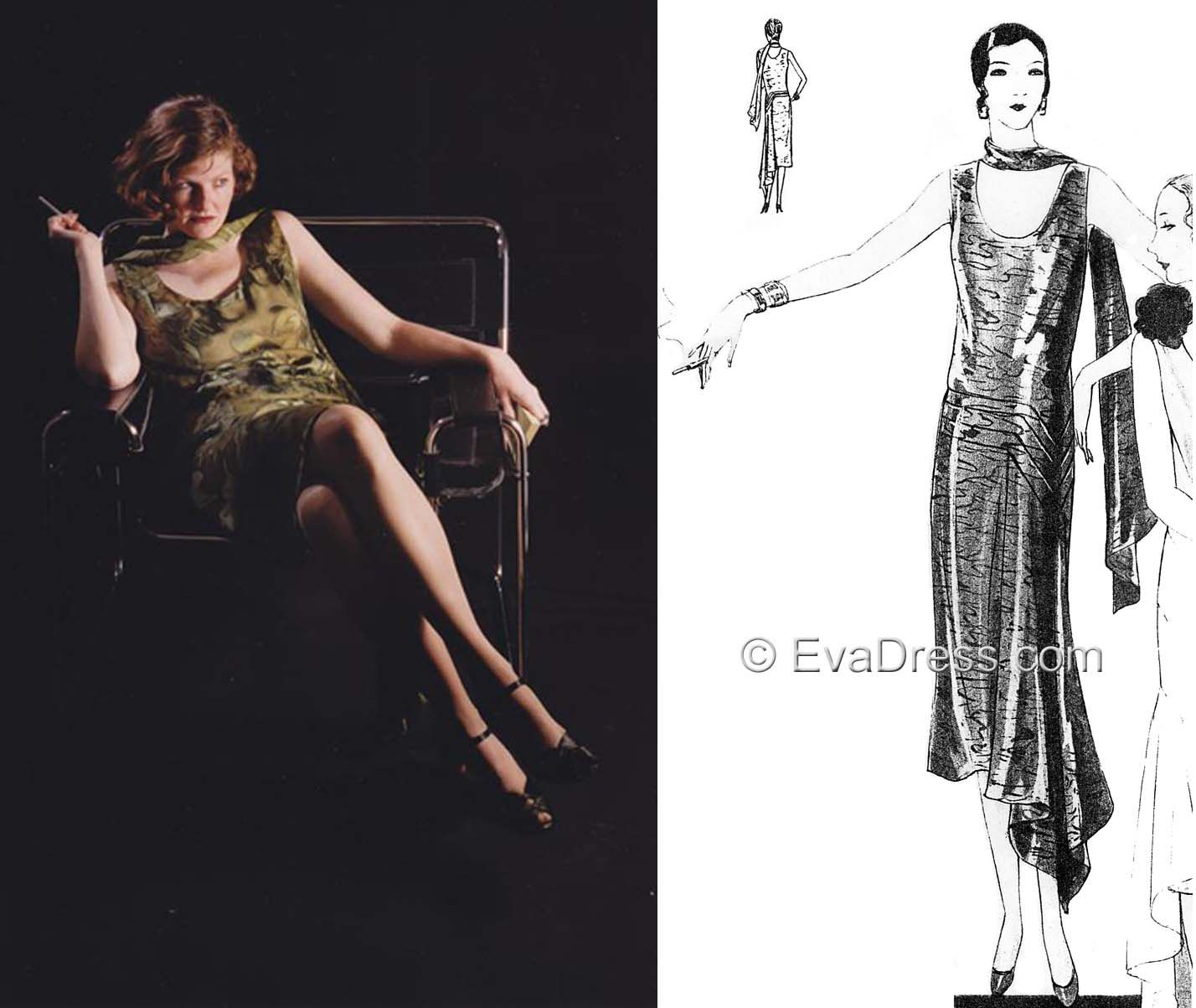 1929 German Evening Frock and Scarf http://www.evadress.com/6632.html