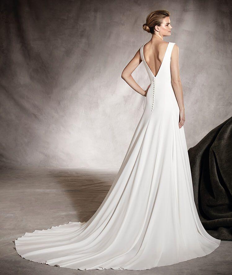 amaya - vestido de novia sutil con escote redondo en crepe