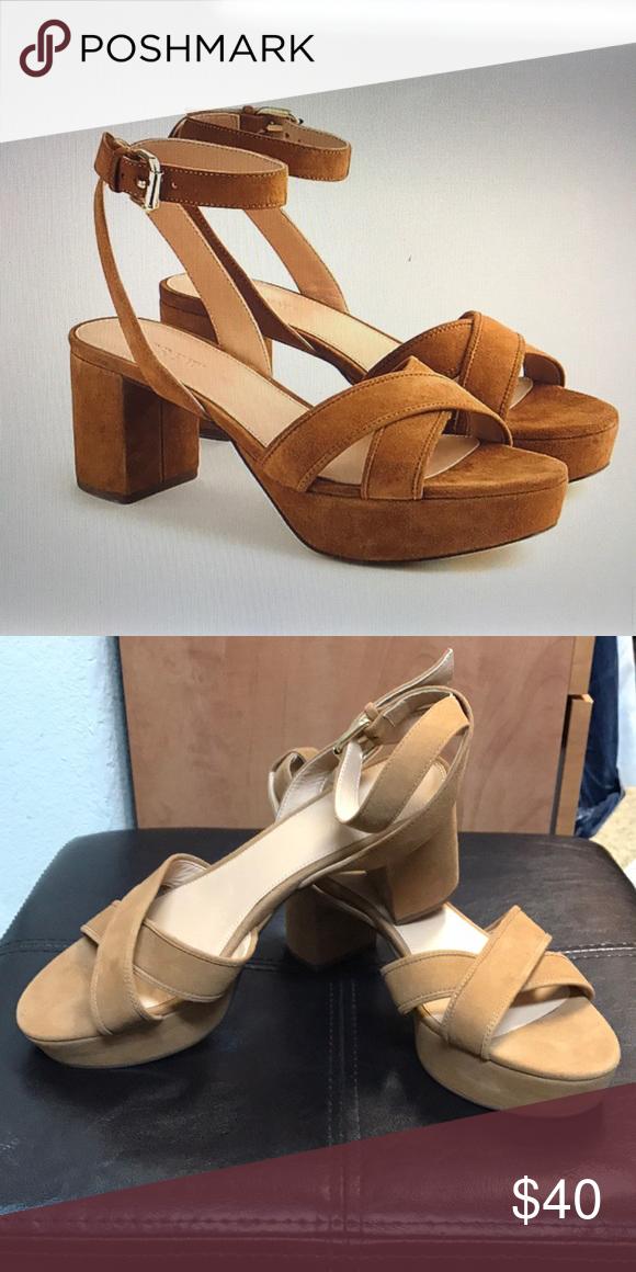631fd3e40c7e J Crew cross-cross suede platform sandals Platform heels with a slightly  70 s vibe. Suede. 2.25