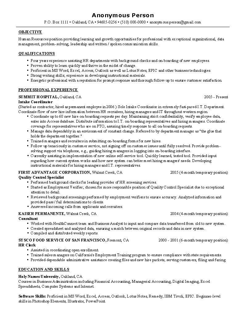 Resume Examples Human Resources Resume examples Pinterest