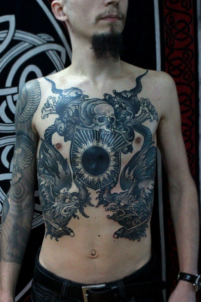 gorgeous-tattoo-with-a-skull-Black-Sun-and-the-mythical ...
