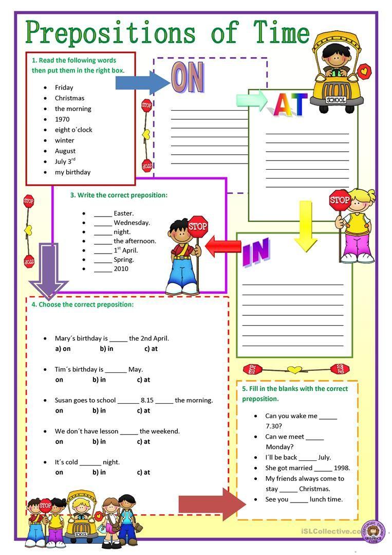 Prepositions Of Time Worksheet