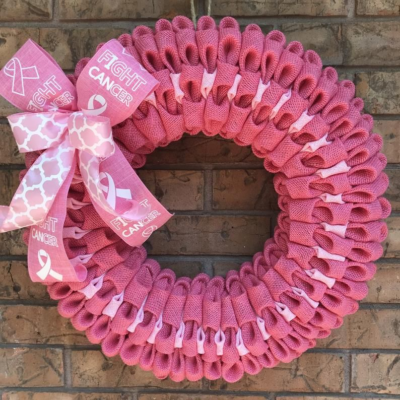 Breast Cancer Awareness Burlap Wreath
