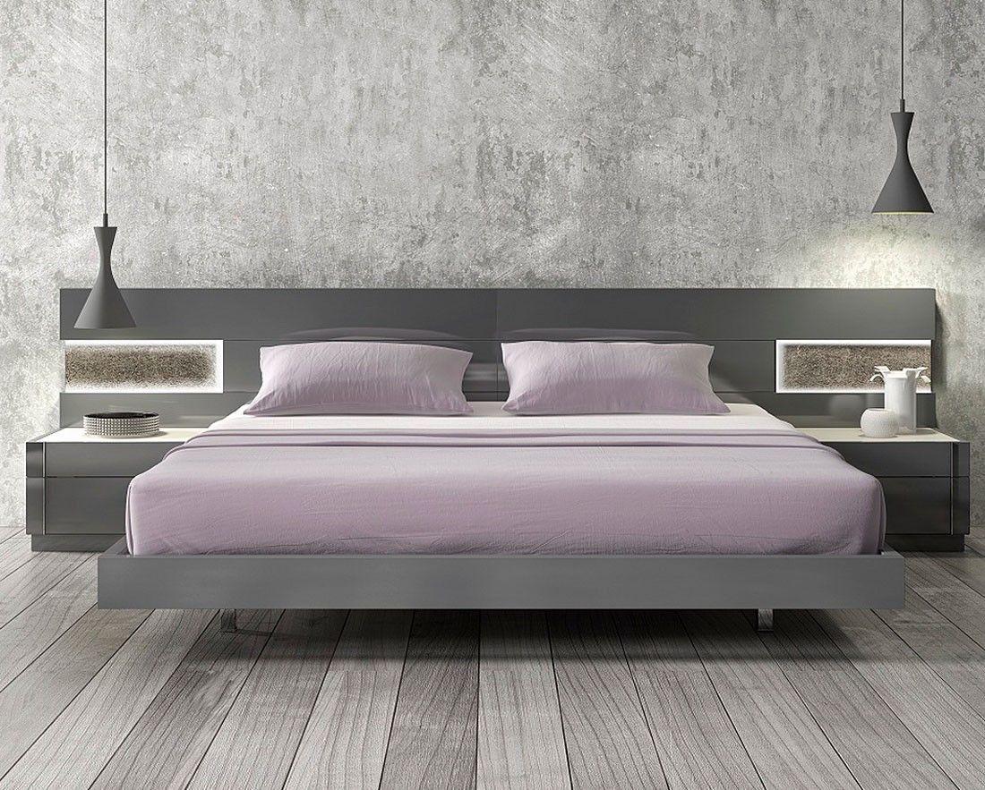 light wooden bedroom furnitures modern light. J \u0026 M Braga Premium Platform Bed With LED Lights 178671   Modern Bedroom Furniture Light Wooden Furnitures