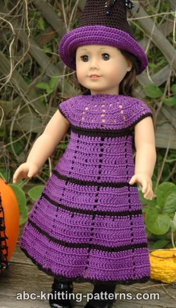 FREE crochet pattern for an American Girl Doll Witch\'s Dress by ABC ...
