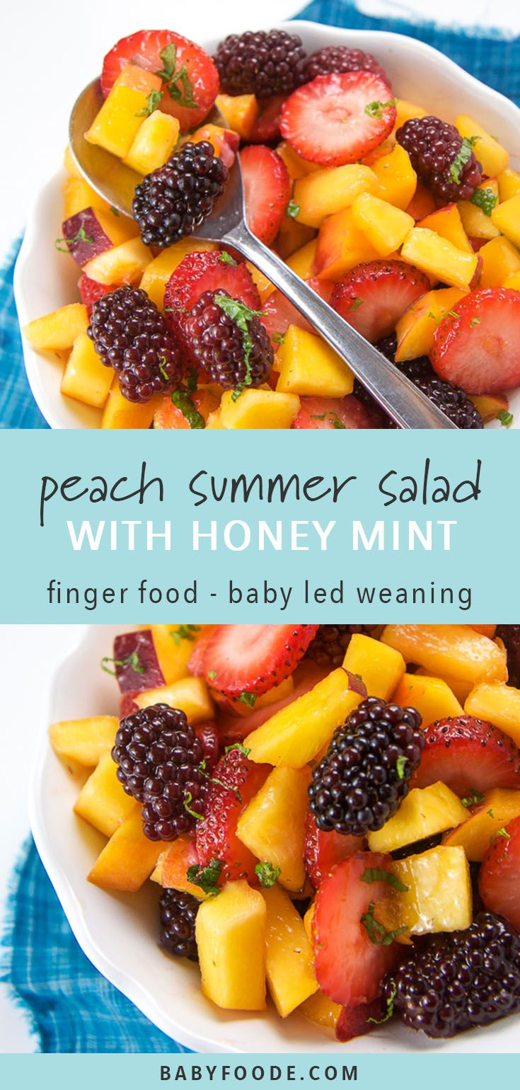 Photo of Peach Summer Fruit Salad with Mint + Honey Dressing
