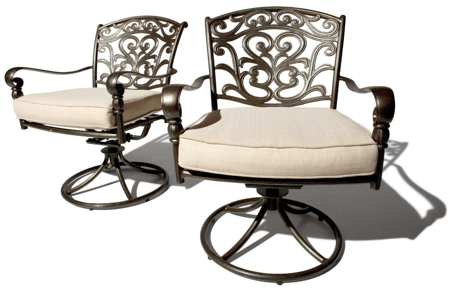 Smile Strathwood St Thomas Cast Aluminum Swivel Dining Arm Chair Set Of 2 Patio Chairs Lawn Garden