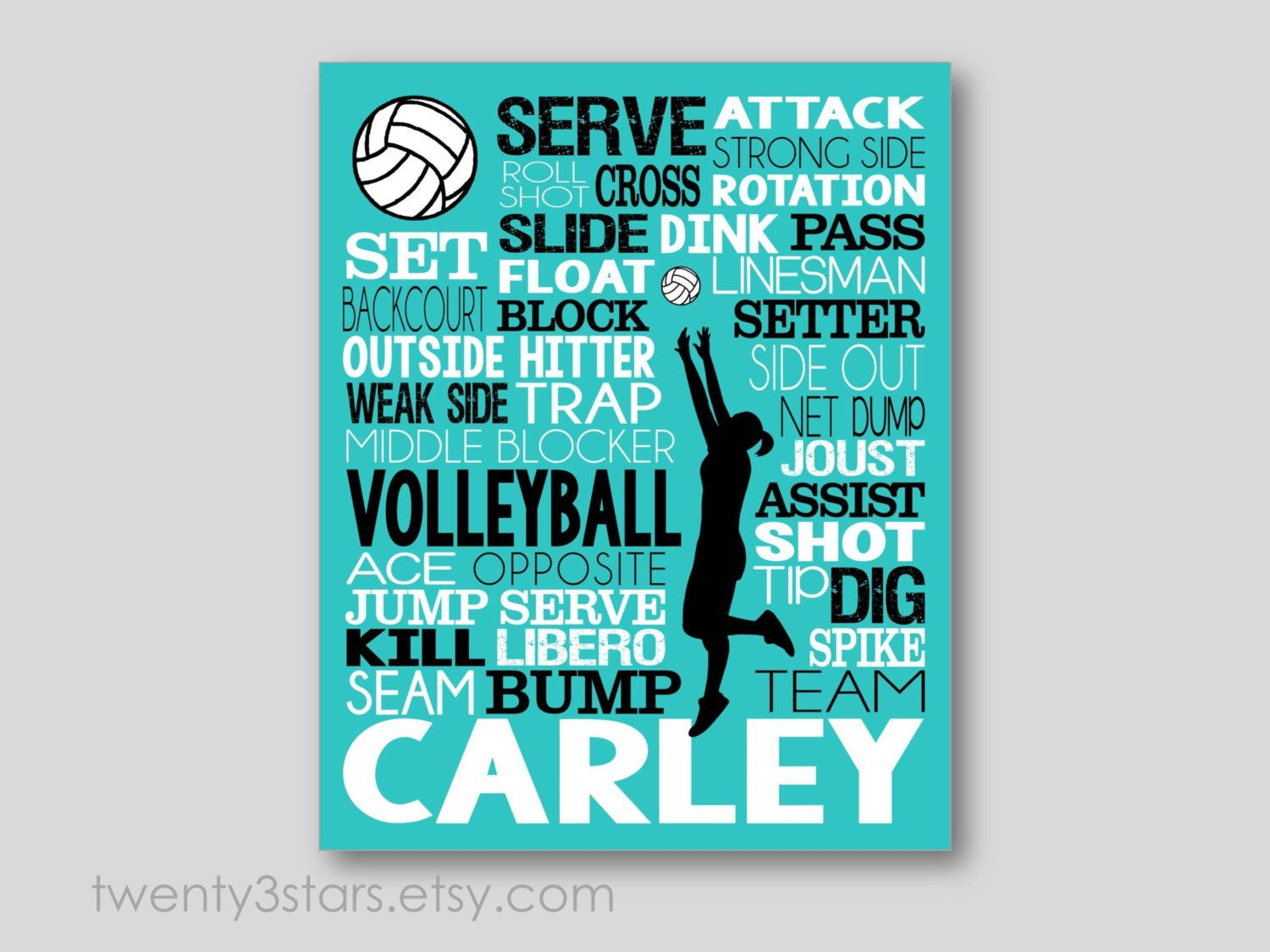 Custom Volleyball Poster Volleyball Word Art Volleyball Team Etsy Volleyball Posters Volleyball Coach Gifts Volleyball Gifts