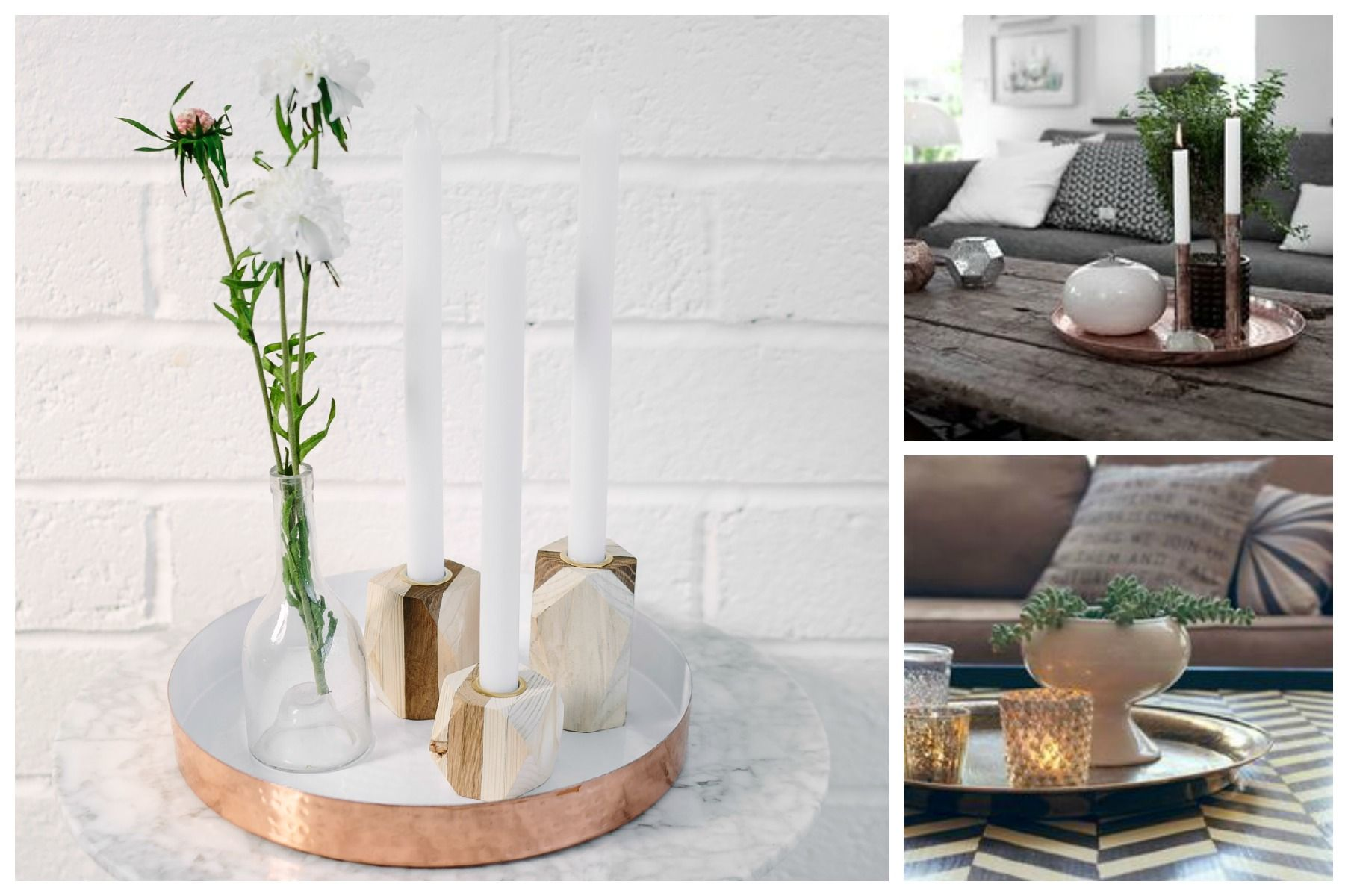#interior #styling #tips  Use a decorative tray to collate a small group of candles, a vase with flowers or small pot with a succulent plant and an interesting ornament or shell. SHOP the main image with copper tray here: http://collectie.co.uk/collections/featured/products/natural-retreat #interiors #tray