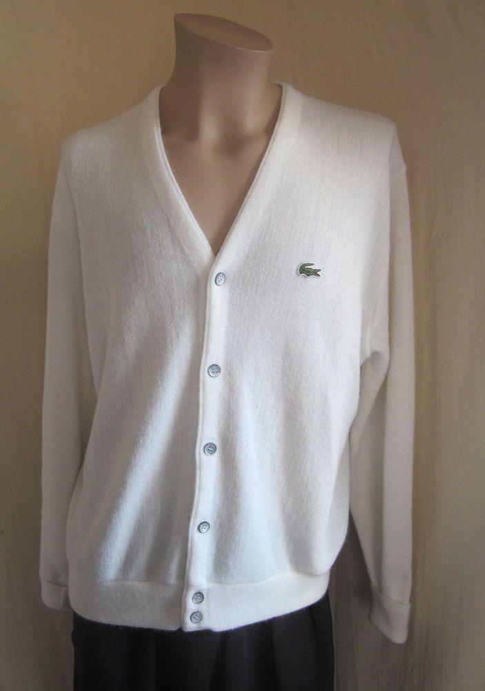 IZOD LACOSTE VINTAGE White Alligator 100% Orlon Acrylic Golf Sweater ...