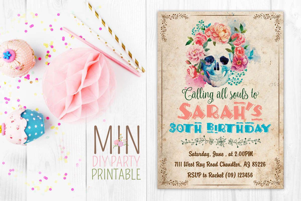 Day of the dead invite,fiesta birthday invitation,mexican fiesta ...