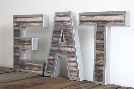 Faux Metal Eat Letters Eat Sign Eat Decor Eat Letters Rustic Kitchen Decor Faux Wood Eat S Eat Sign Kitchen Decor Etsy Kitchen Decor