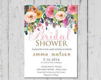 Bridal Shower Invitation Watercolor Por Lewisdesignco