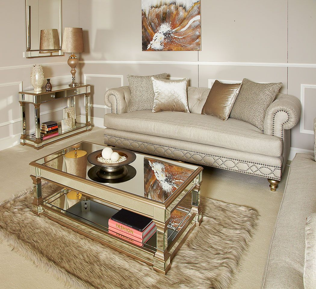 Athens Gold Mirrored Low Coffee Table Picture Perfect Home Cream And Gold Living Room Table Decor Living Room Living Room Table Sets