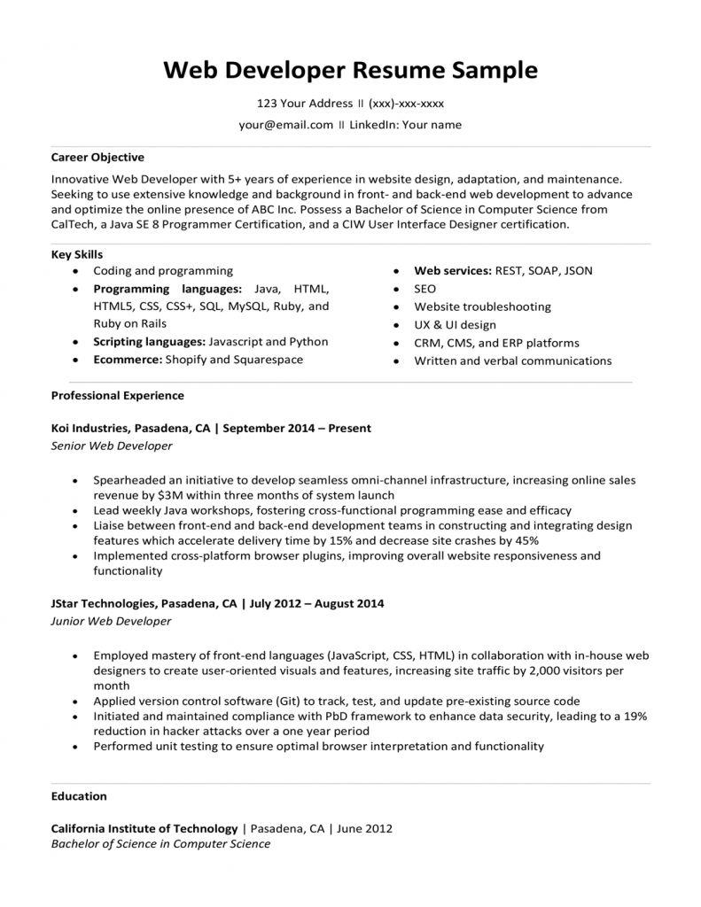 Front End Developer Resume Examples 2021 Resume Examples Resume Web Developer Resume