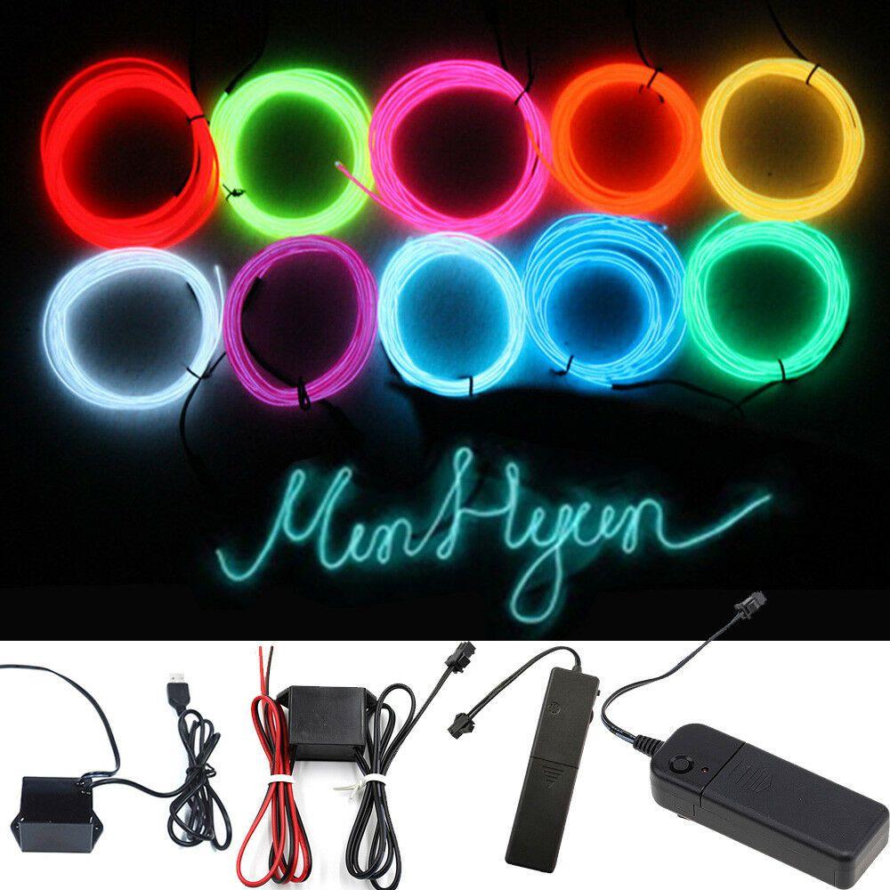 Glow LED Light String Strip Rope El Wire Car Dance Party+3V 12V USB Controller