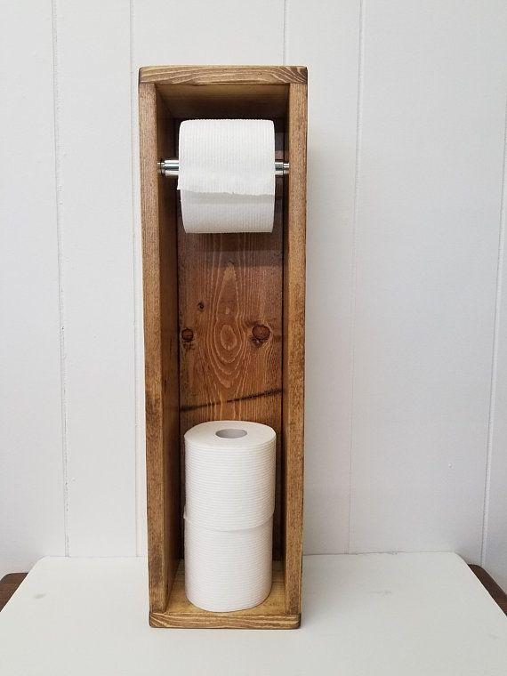 Toilet Paper Holder Stand Bathroom Storage Organizer Rustic Farmhouse