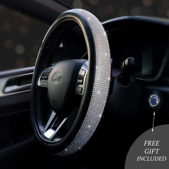 Bling Steering Wheel Cover 15 Pu Leather Free Crystal Bling Ring