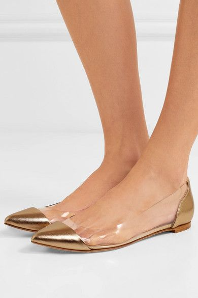 gianvito rossi point | cuir métallique et | net un pvc point rossi pieds plats fc035f