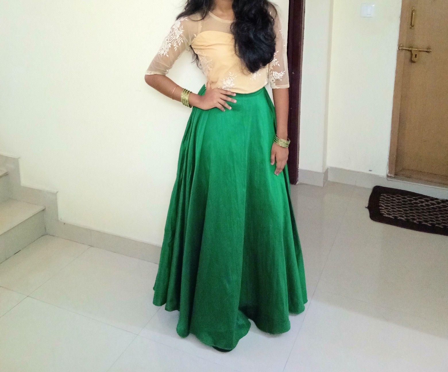 0b6b55947b4675 Party wear green umbrella skirt with net crop top