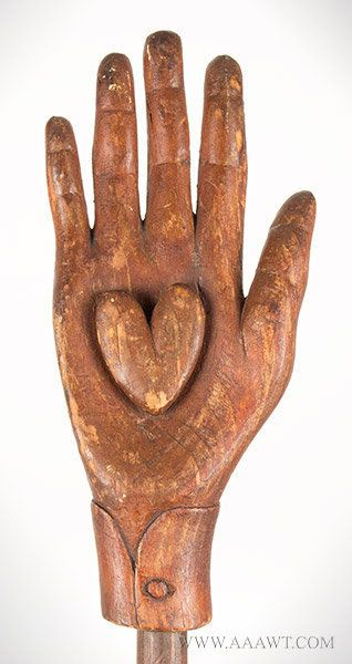 Antique Heart in Hand Staff, Oddfellows, Late 19th Century