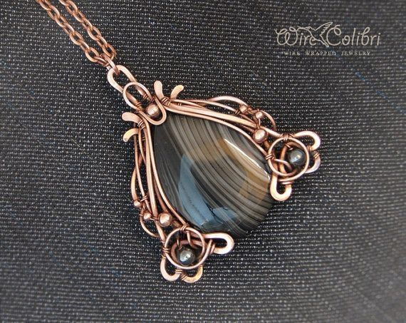 Black agate stone pendant necklace, wire wrapped jewelry handmade ...