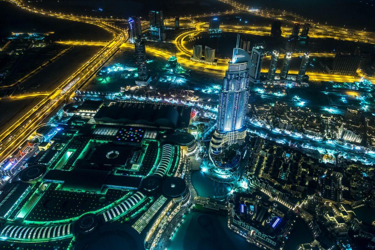 Emirates UAE Roads Dubai Megapolis Night From