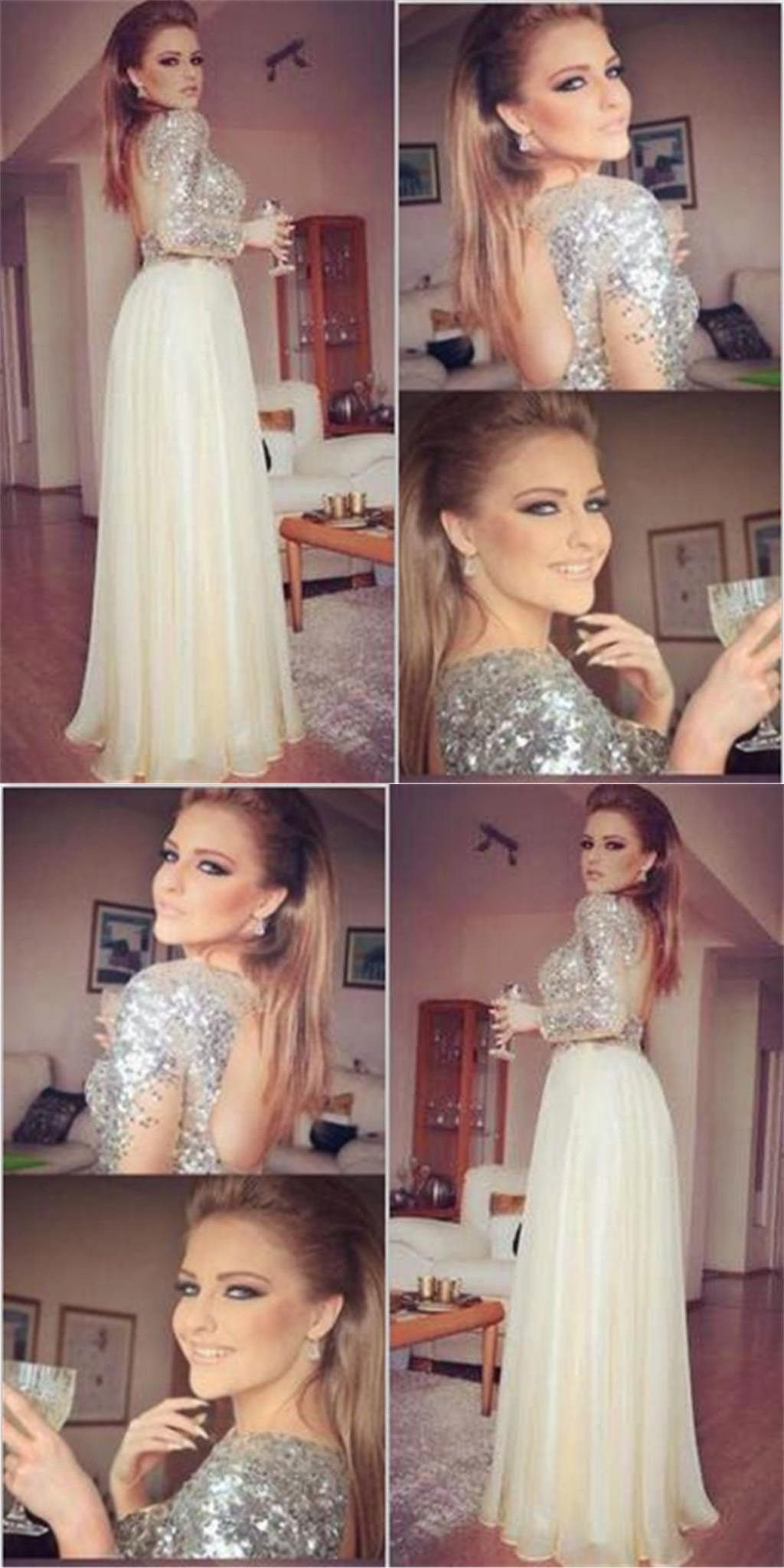 Long sleeves prom dressessequined prom dressesopen back prom