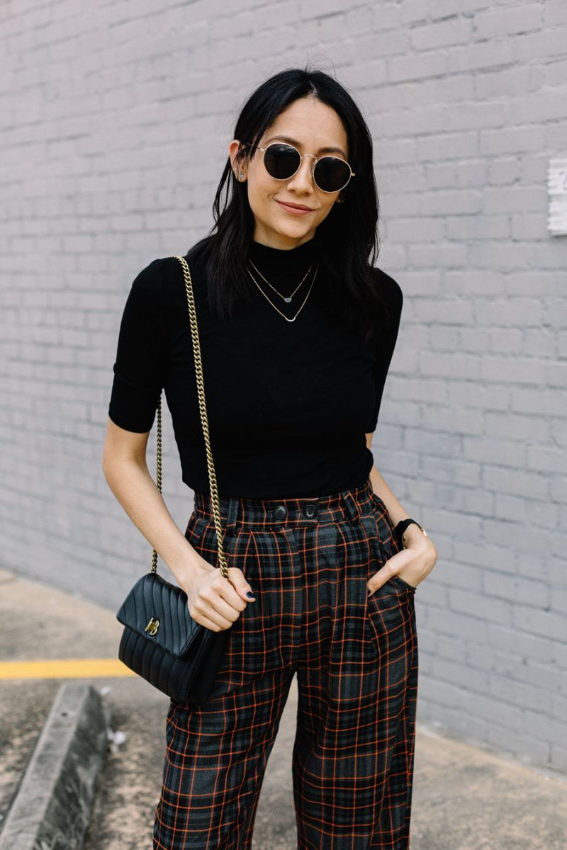 How To Style Topshop Check Peg Trousers