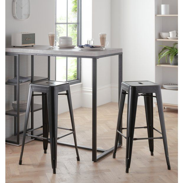 Buy Argos Home Stone Effect Bar Table & 2 Bar Stools
