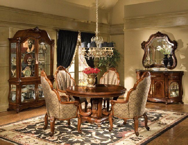 THE FURNITURE Elegant Dining Room Set With Round Table From Photo