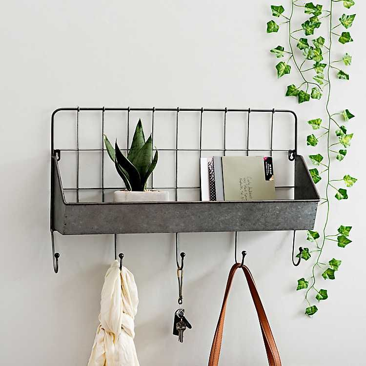 Galvanized Metal Pocket Shelf With Hooks Kirklands Galvanized Metal Wall Shelves Entryway Shelf Wood wall shelf with hooks