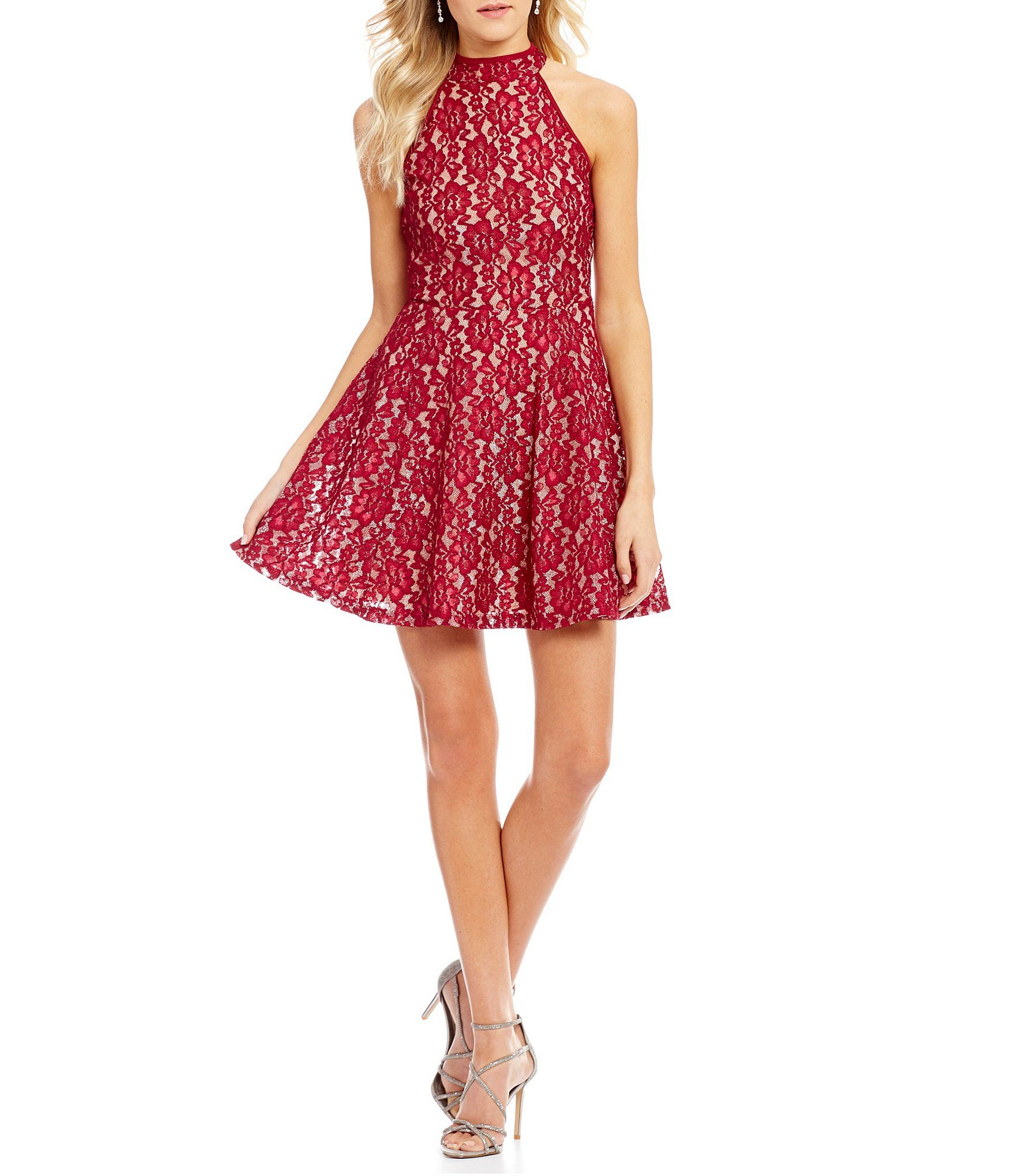 Honey and rosie foiled lace fitandflare dress dillards honey
