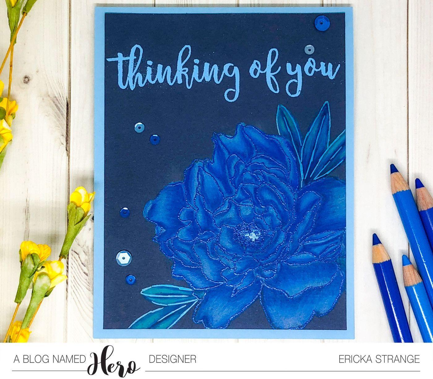 Blue Peony #bluepeonies Hero Arts Blue Peony in Monochromatic blue pencil #bluepeonies