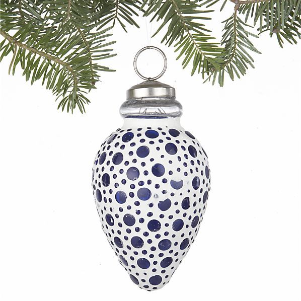 Pretty Blue White Dot Ornament From Crate Barrel 3 95 Christmas Ornaments Crate Barrel Ornaments
