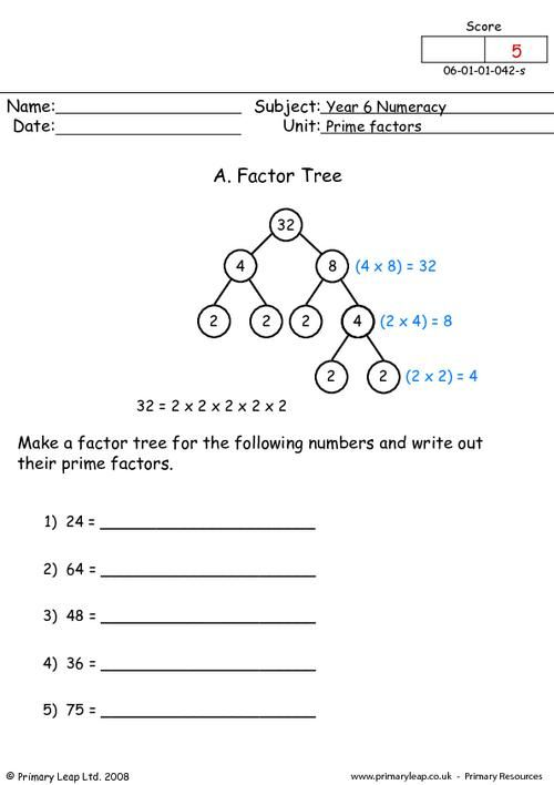 Primaryleap Prime Factors Worksheet Teaching Factors