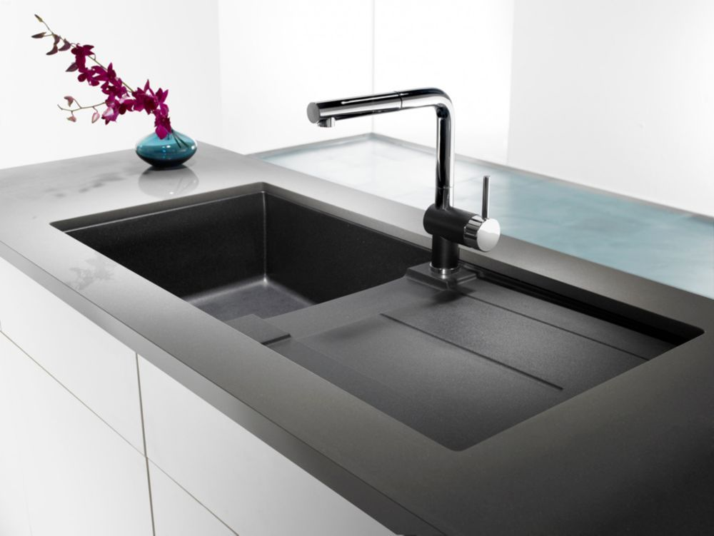 Silgranit Natural Granite Composite Top Mount Drainboard Kitchen Sink Anthracite Evier Cuisine Cuisine Moderne Et Cuisine Moderne Grise