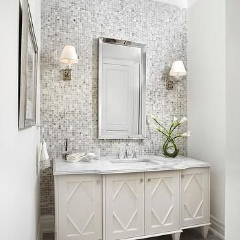 Gray Mosaic Tiled Bathroom Accent Wall Contemporary